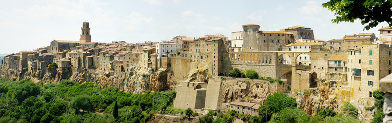 Panoramic view on a Pitigliano town