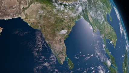 Earth 3d view from space. South Asia