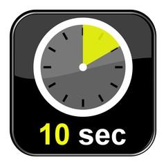 Glossy Button schwarz - Uhr: 10 Sekunden