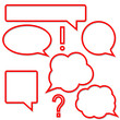 Set of bright red speech bubbles