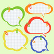 Set of paper speech bubbles with pins