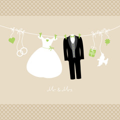 "Hanging Wedding Couple & Symbols ""Mr. & Mrs."" Green/Beige Dots"