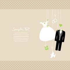 Hanging Wedding Symbols Green Beige Dots
