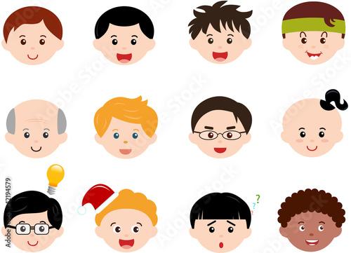 Cute vector Icons: Boys, Men, Kids (Male Set) Different ethnics