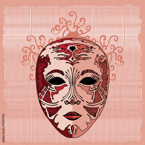 masque on lined background
