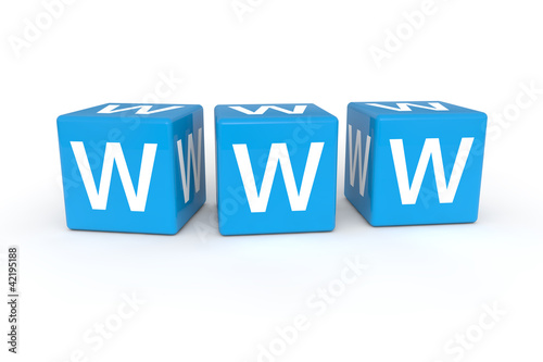 WWW cubes 3d render illustration
