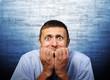 Fear of businessman, world global crisis concept