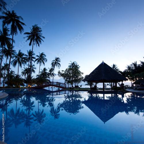 Amazing sunrise at swimming pool wit palms background