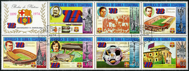 EQUATORIAL GUINEA - 1974: shows Barcelona Soccer Team