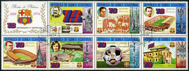 EQUATORIAL GUINEA - 1974: shows Barcelona Soccer Team