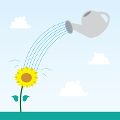 Flower and watering can with sky background