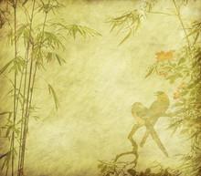 oiseaux et Silhouette de branches de bambou sur fond de papier