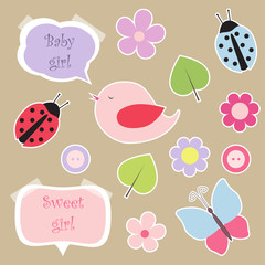 Set of elements for scrapbook for baby girl