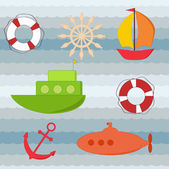 Set of water transport stickers