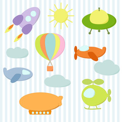 Set of air transport stickers