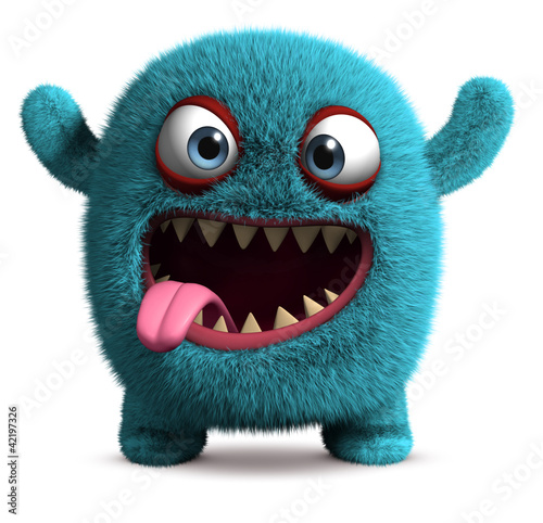 Foto op Plexiglas Sweet Monsters cute furry monster