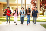 Schoolchildren at home time poster