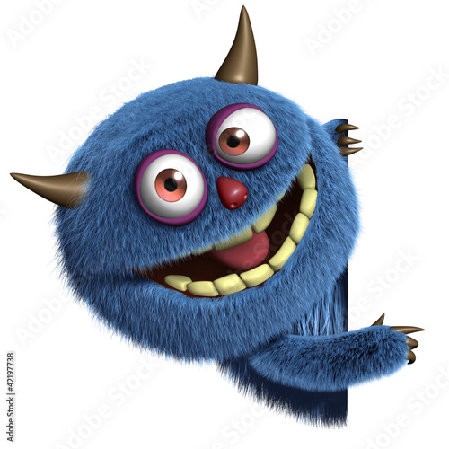 Foto op Plexiglas Sweet Monsters blue furry alien