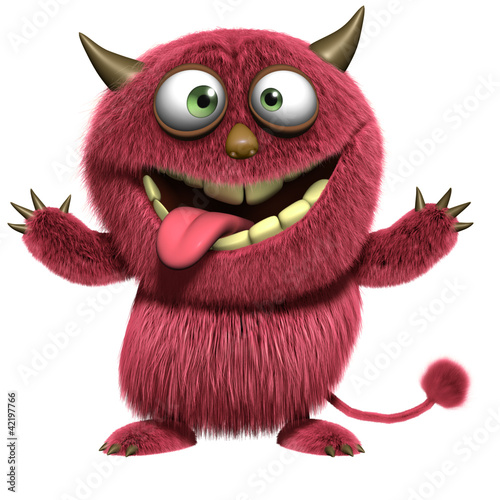 Tuinposter Sweet Monsters red hairy alien