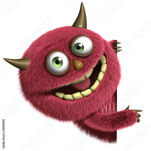Foto op Plexiglas Sweet Monsters cute furry alien