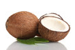 Fresh coconut isolated on white