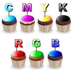 Pasticcini Colori CMYK RGB Cupcakes Colors Palette-Vector