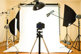 Fototapety Empty photo studio with lighting equipment