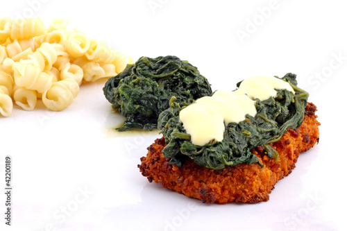 Schnitzel mit Spinat