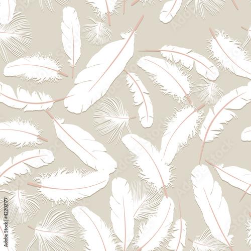бесшовный фон из белых перьев, графика, print