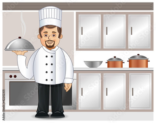 A chef with a steaming dish in a kitchen