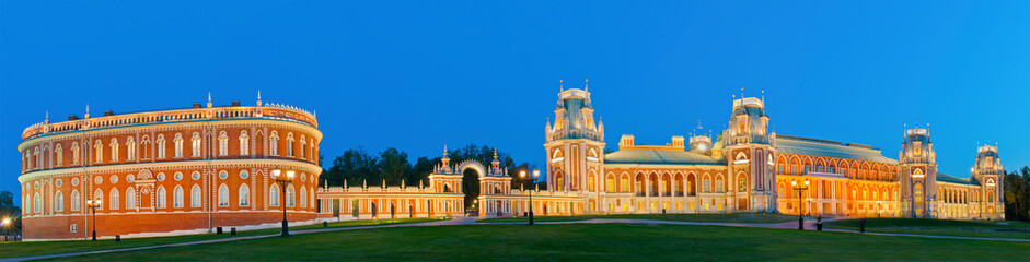 Tsaritsino Palace at night. panorama of Moscow Estate, Russia