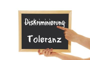 Schild Diskriminierung / Toleranz