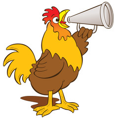 cockerel with megaphone announcement