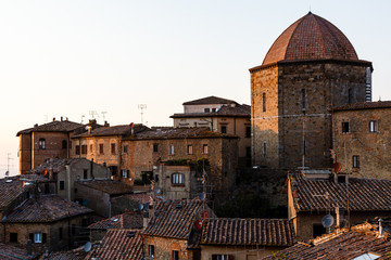 Dome and Houses in the Small Town of Volterra in Tuscany, Italy