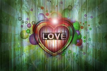 Herz auf Holzwand - Love