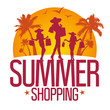 Summer shopping design template with fashion girls silhouette.