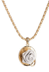 Pendant in form of rose isolated on white