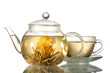 exotic green tea with flowers in glass teapot and cup isolated