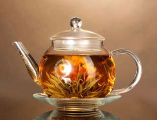 glass teapot with exotic green tea