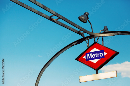 Fotobehang Madrid Metro Madrid Sign Structure with Blank Plate