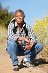 Senior  man on country hike
