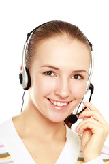 Beautiful woman with headset. Call center. Customer support.