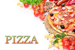 delicious pizza with vegetables and salami isolated on white.