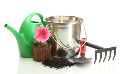 watering can, tools and plant isolated on white