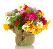 bouquet of wildflowers in flowerpot isolated on white