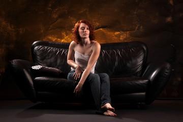 auf dem Sofa