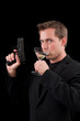 Male caucasian model with a gun
