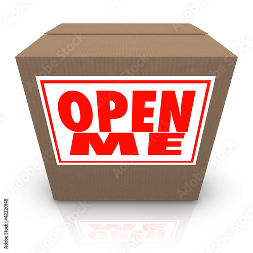 Open Me Label on Cardboard Box Mystery Present Package