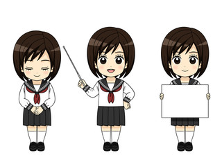 様々なポーズの女子中学生