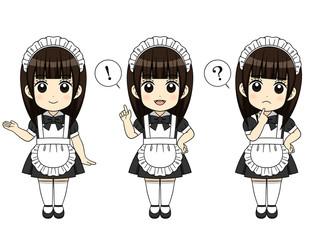様々なポーズのメイド服の女の子